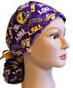 Women's LSU Two Tone Ponytail Surgical Scrub Hat, Plain or Fold-Up Brim Adjustable, Handmade