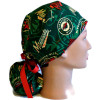 Women's Minnesota Wild Two Tone Ponytail Surgical Scrub Hat, Plain or Fold-Up Brim Adjustable, Handmade