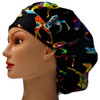 Women's Southwest Horses Brite Bouffant Surgical Scrub Hat, Adjustable with elastic and cord-lock, Handmade