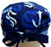 Men's Seattle Kraken Surgical Scrub Hat, Semi-Lined Fold-Up Cuffed (shown) or No Cuff, Handmade