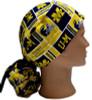 Women's Michigan Herringbone Squares Ponytail Surgical Scrub Hat, Plain or Fold-Up Brim Adjustable, Handmade