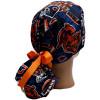 Women's Chicago Bears Vintage Ponytail Surgical Scrub Hat, Plain or Fold-Up Brim Adjustable, Handmade