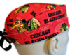 Men's Chicago Blackhawks Red Surgical Scrub Hat, Semi-Lined Fold-Up Cuffed (shown) or No Cuff, Handmade