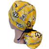 Women's Nashville Predators Gold Ponytail Surgical Scrub Hat, Plain or Fold-Up Brim Adjustable, Handmade