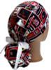 Women's St Louis Cardinals Squares Ponytail Surgical Scrub Hat, Plain or Fold-Up Brim Adjustable, Handmade
