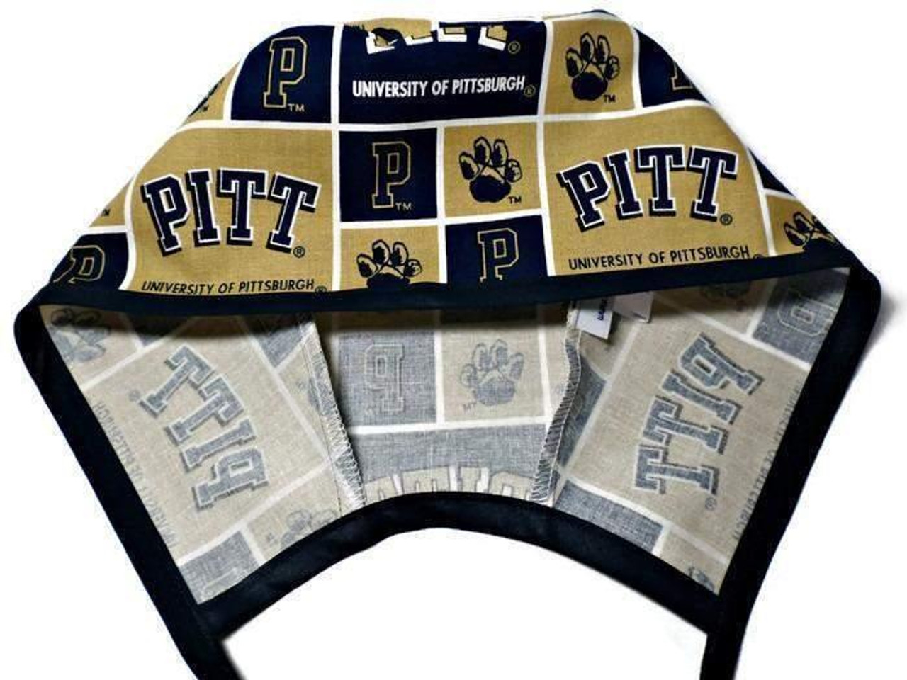 3abbccbc5 Men's Optional Sweatband Unlined Surgical Scrub Hat Handmade with  Pittsburgh PITT Panthers fabric