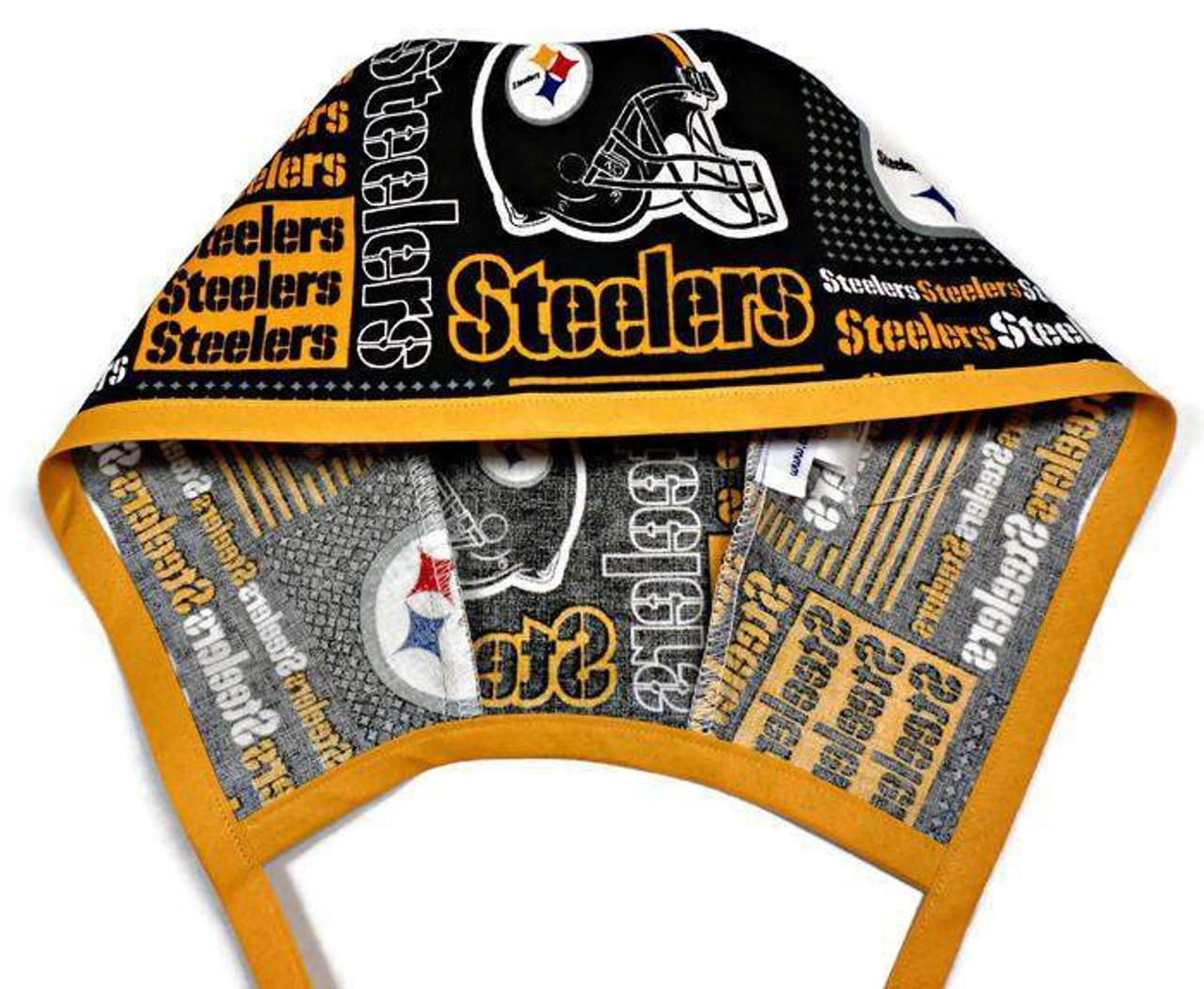 89c802a52 Men's Optional Sweatband Unlined Surgical Scrub Hat Cap Handmade with  Pittsburgh Steelers Squares fabric