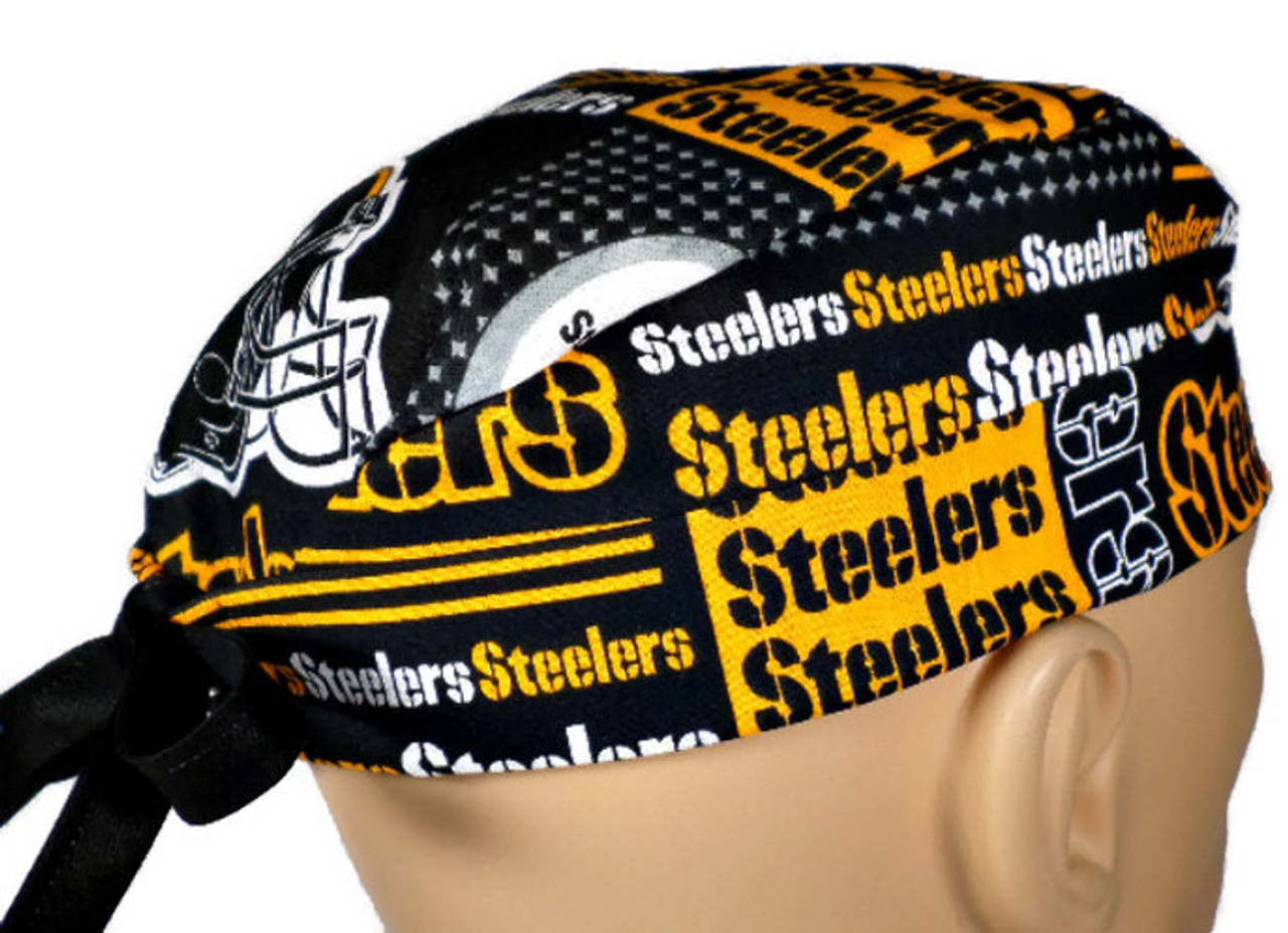 a70fceae6 Men's Semi-Lined Fold-Up Cuffed or No Cuff Surgical Scrub Hat Cap Handmade  with Pittsburgh Steelers Squares fabric
