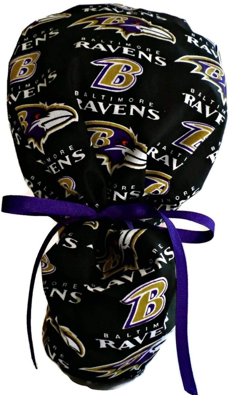 8fa61c843 ... get womens adjustable ponytail surgical scrub hat cap handmade with  officially licensed baltimore ravens black fabric
