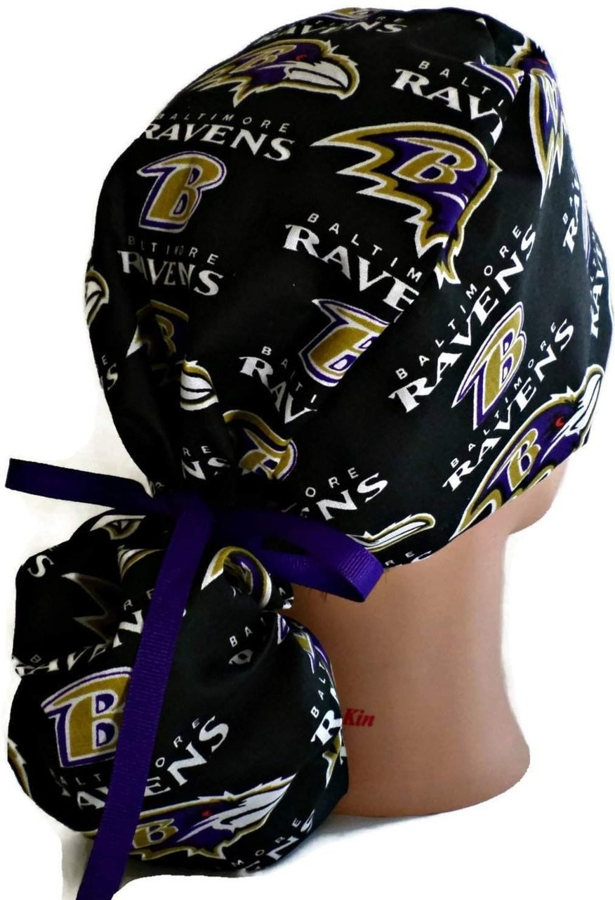 9604cce2f ... Women s Adjustable Ponytail Surgical Scrub Hat Cap Handmade with Baltimore  Ravens Black fabric