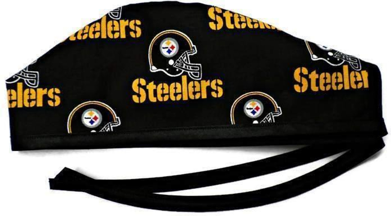 3fbd7f8f6 Men's Optional Sweatband Unlined Surgical Scrub Hat Handmade with  Pittsburgh Steelers Black fabric