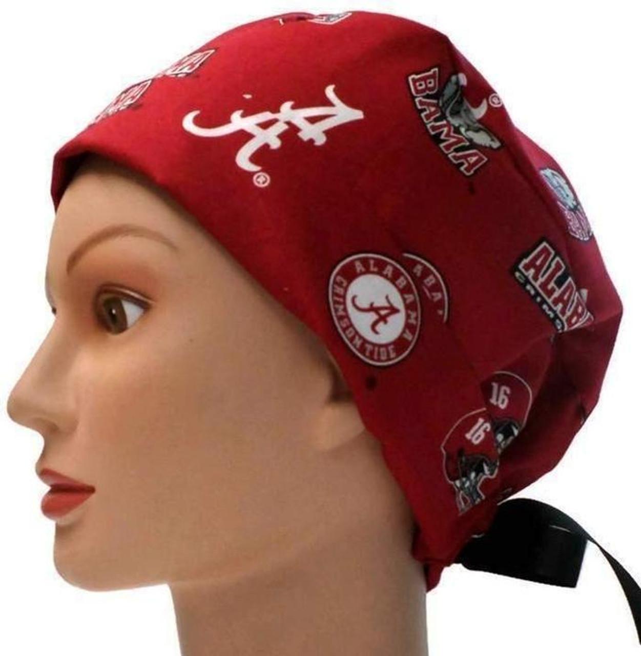 Women s Adjustable Fold-Up Pixie Surgical Scrub Hat Cap Handmade with Alabama  Crimson Tide ... d80f734f2