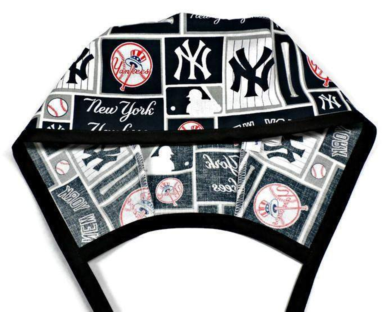 e9aba992c81fc ... Men s Unlined Surgical Scrub Hat Cap Handmade with New York Yankees  Squares ...