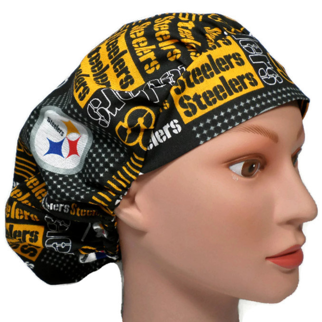 a32c39de0 Women's Adjustable Bouffant Surgical Scrub Hat Handmade with Pittsburgh  Steelers Squares fabric w/ elastic and cord-lock