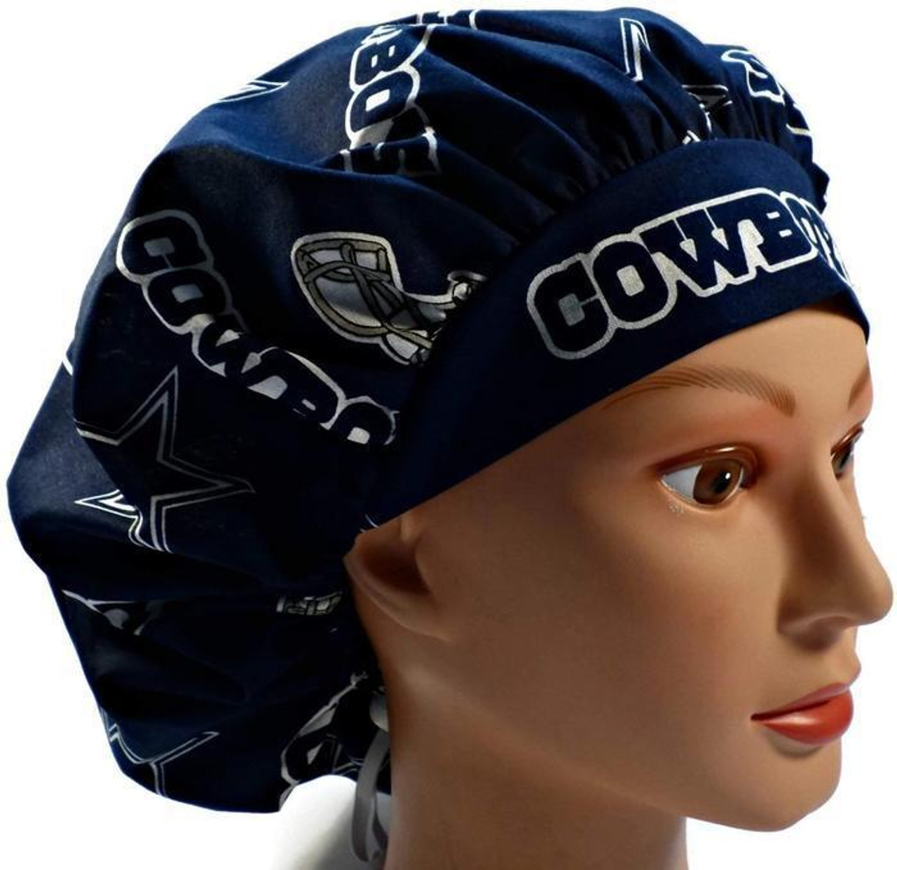 ae0723c47b3 Women's Adjustable Bouffant, Pixie, or Ponytail Surgical Scrub Hat Cap  Handmade with Dallas Cowboys ...