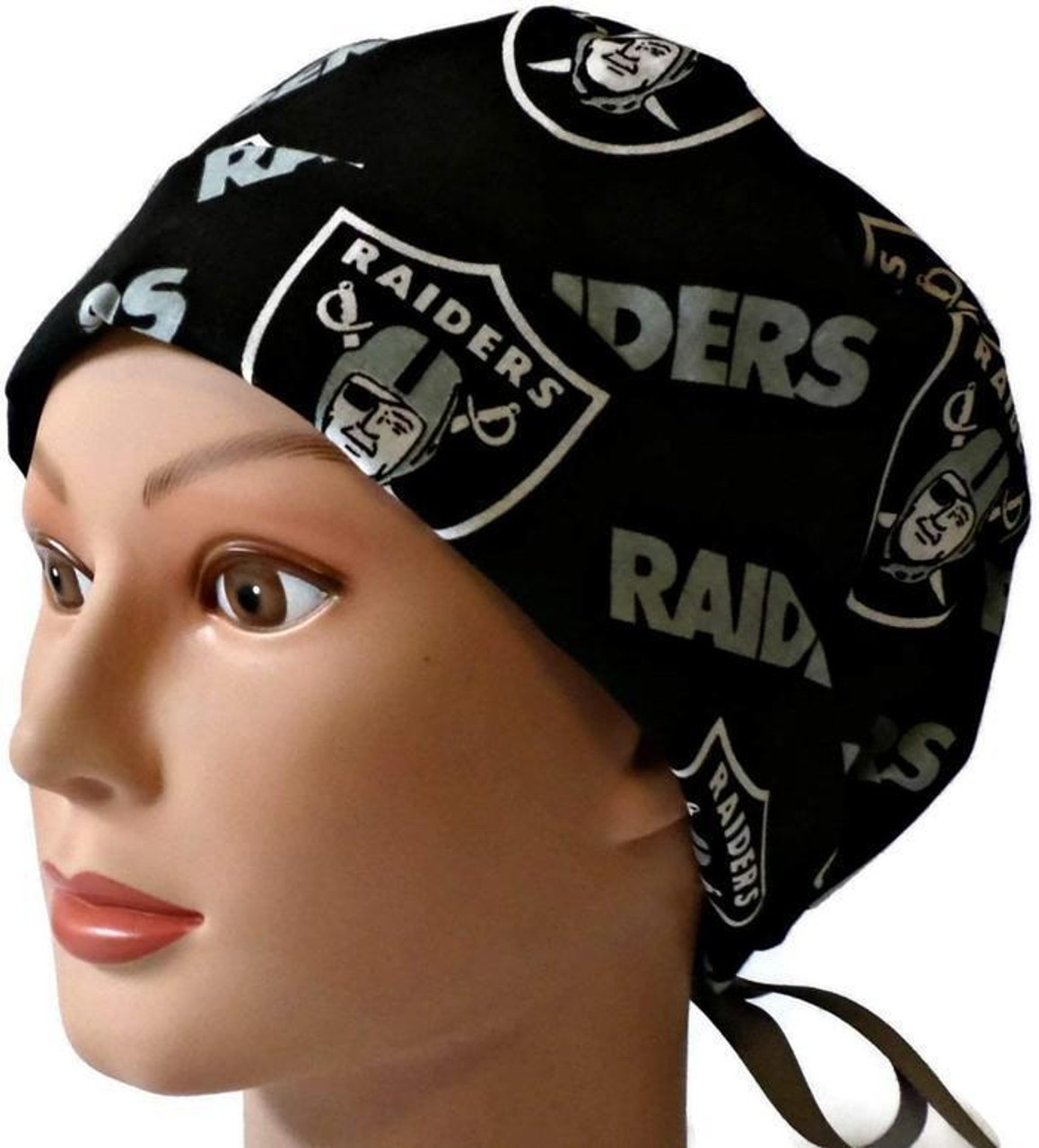 62b78d357e3cf Women s Adjustable Fold-Up Pixie Surgical Scrub Hat Cap Handmade with Oakland  Raiders Black fabric ...