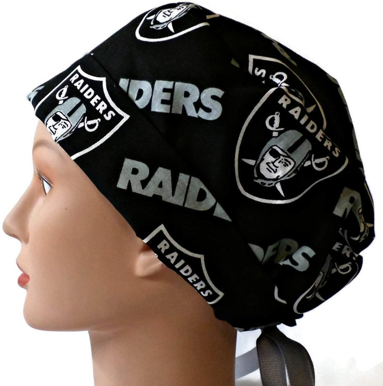 29d1812342294 ... Women s Adjustable Fold-Up Pixie Surgical Scrub Hat Cap Handmade with Oakland  Raiders Black fabric