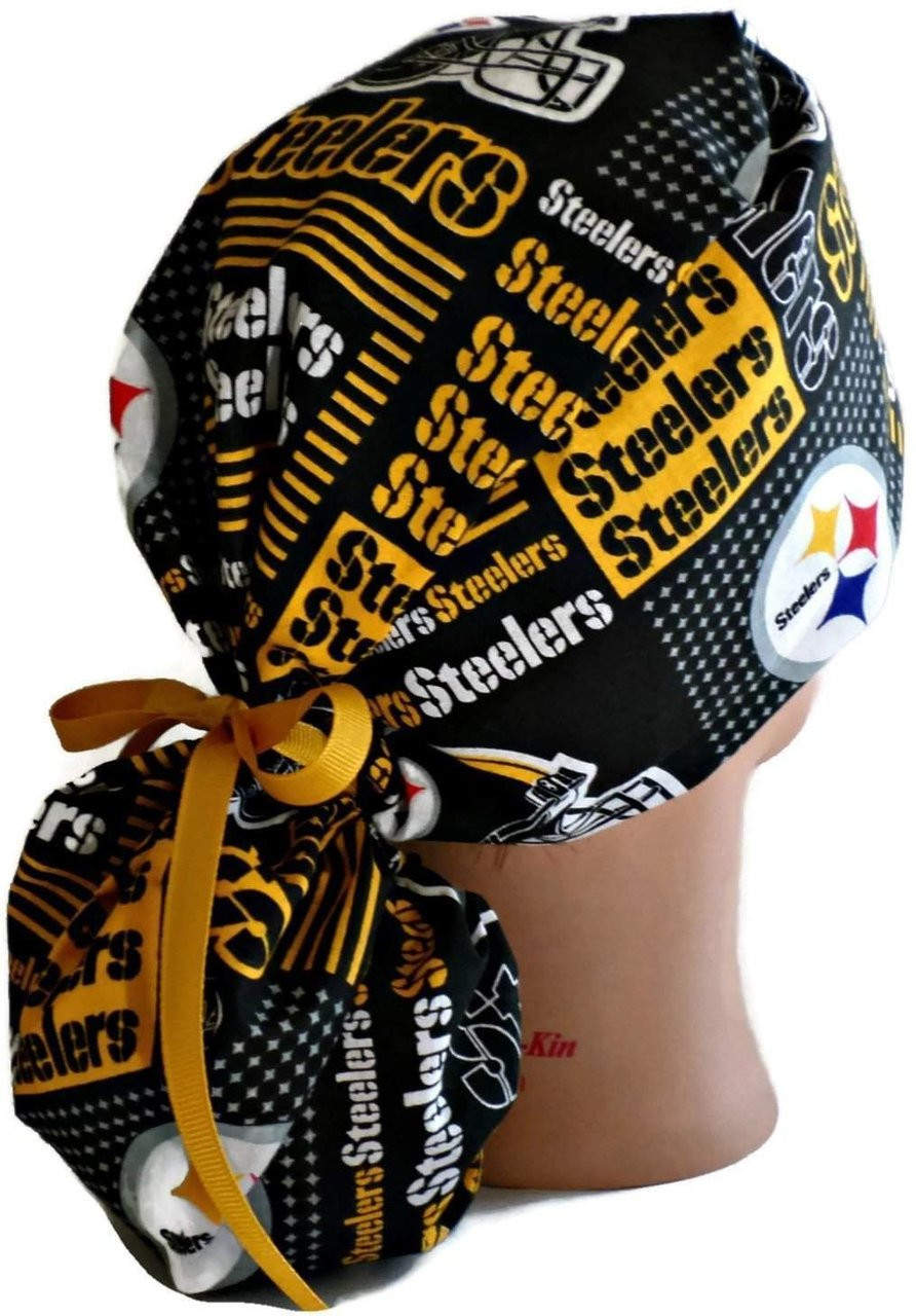 7bc353be0 Women's Adjustable Ponytail Surgical Scrub Hat Cap Handmade with Pittsburgh  Steelers Squares fabric