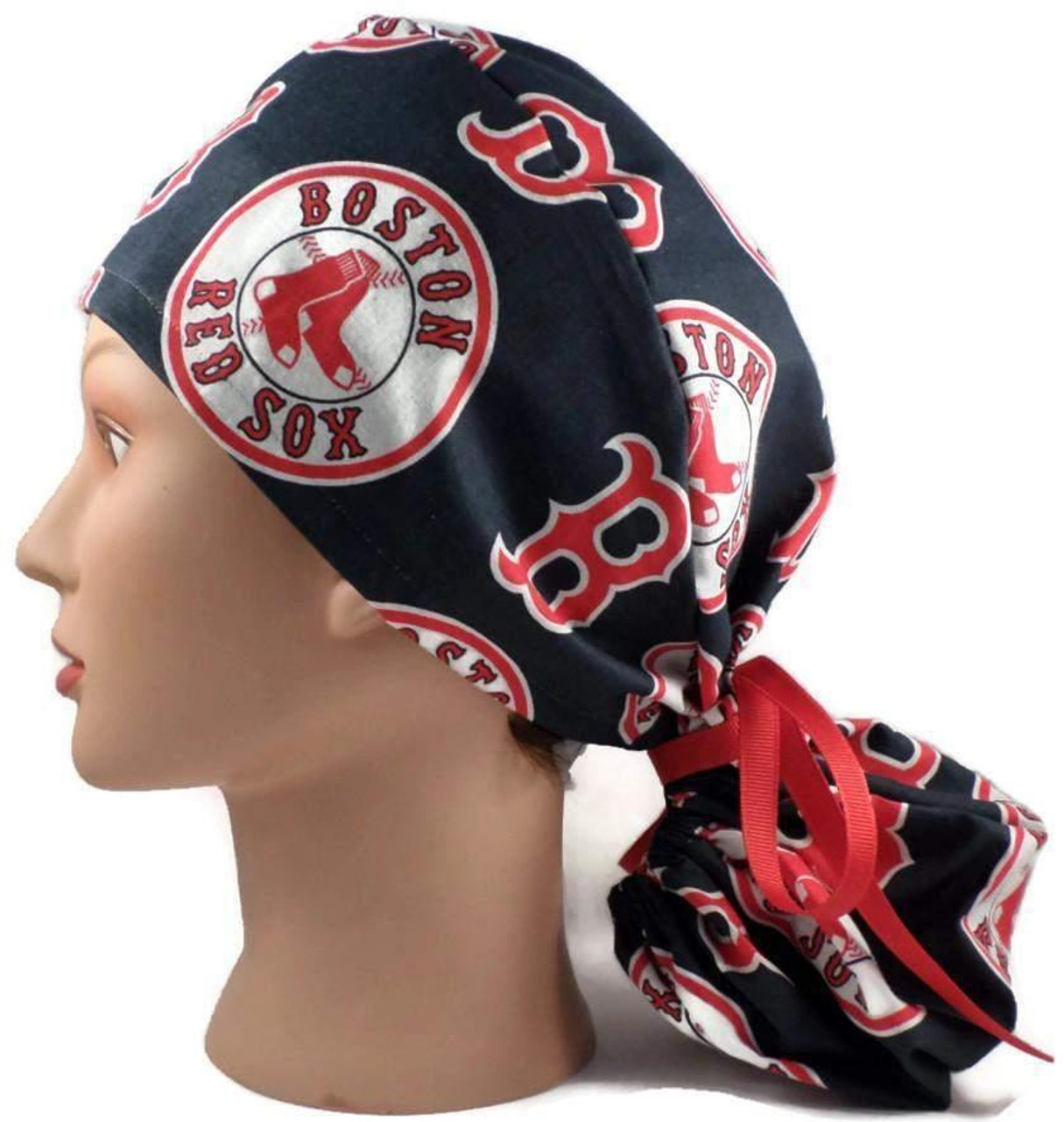 315d227bdef new arrivals womens adjustable ponytail surgical scrub hat cap handmade  with officially licensed boston red sox