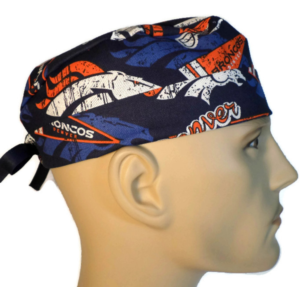 14537f8af Men's Semi-Lined Fold-Up Cuffed (shown) or No Cuff Surgical Scrub Hat  Handmade with Denver Broncos Retro fabric