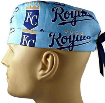 Men's Kansas City Royals Surgical Scrub Hat, Semi-Lined Fold-Up Cuffed (shown) or No Cuff, Handmade