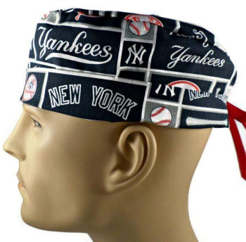 Men's New York Yankees Squares Surgical Scrub Hat, Semi-Lined Fold-Up Cuffed (shown) or No Cuff, Handmade