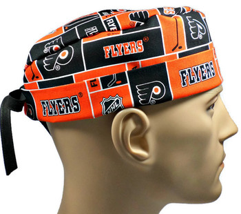 Men's Philadelphia Flyers Squares Surgical Scrub Hat, Semi-Lined Fold-Up Cuffed (shown) or No Cuff, Handmade
