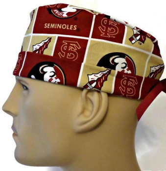 Men's Florida Seminoles Squares Surgical Scrub Hat, Semi-Lined Fold-Up Cuffed (shown) or No Cuff, Handmade