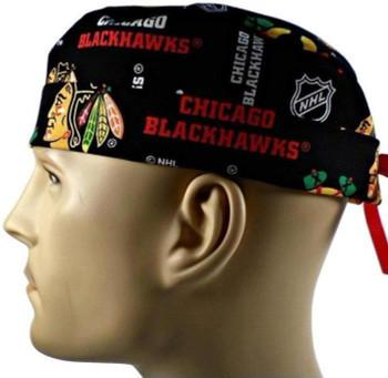 Men's Chicago Blackhawks Black Surgical Scrub Hat, Semi-Lined Fold-Up Cuffed (shown) or No Cuff, Handmade