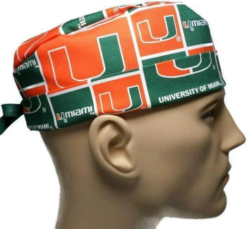 Men's Miami Hurricanes Surgical Scrub Hat, Semi-Lined Fold-Up Cuffed (shown) or No Cuff, Handmade