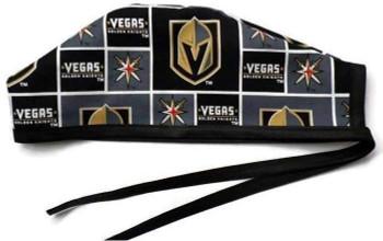 Men's Vegas Golden Knights Squares Unlined Surgical Scrub Hat, Optional Sweatband, Handmade