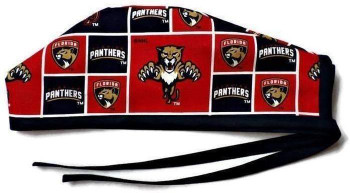 Men's Florida Panthers Unlined Surgical Scrub Hat, Optional Sweatband, Handmade