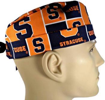 Men's Syracuse CUSE Surgical Scrub Hat, Semi-Lined Fold-Up Cuffed (shown) or No Cuff, Handmade