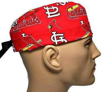 Men's St. Louis Cardinals Allover Surgical Scrub Hat, Semi-Lined Fold-Up Cuffed (shown) or No Cuff, Handmade