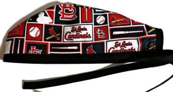 Men's Unlined St Louis Cardinals Squares Surgical Scrub Hat, Optional Sweatband, Handmade