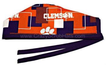 Men's Clemson Tigers New Block Unlined Surgical Scrub Hat, Optional Sweatband, Handmade