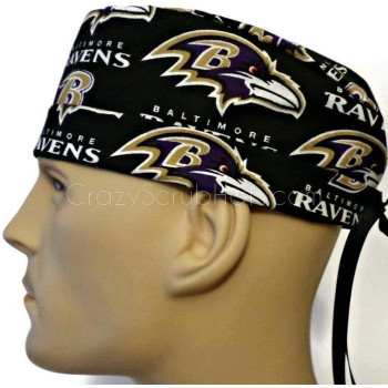 Men's Baltimore Ravens Black Surgical Scrub Hat, Semi-Lined Fold-Up Cuffed (shown) or No Cuff, Handmade