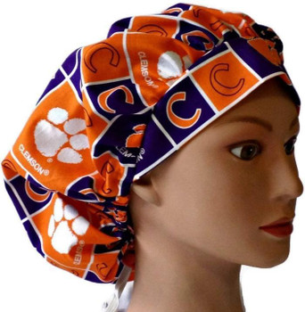 Women's Clemson Tigers Squares Bouffant Surgical Scrub Hat, Adjustable with elastic and cord-lock, Handmade
