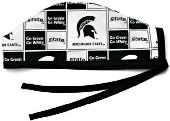 Men's Michigan Spartans Squares  Unlined Surgical Scrub Hat, Optional Sweatband, Handmade