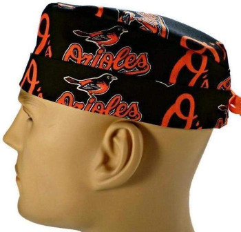 Men's Baltimore Orioles Surgical Scrub Hat, Semi-Lined Fold-Up Cuffed (shown) or No Cuff, Handmade