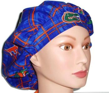 617d8361bdd Women's Adjustable Bouffant Surgical Scrub Hat Cap Handmade with Florida  Gators Plaid fabric w/ elastic and cord-lock