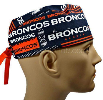 Men's Denver Broncos Squares Surgical Scrub Hat, Semi-Lined Fold-Up Cuffed (shown) or No Cuff, Handmade