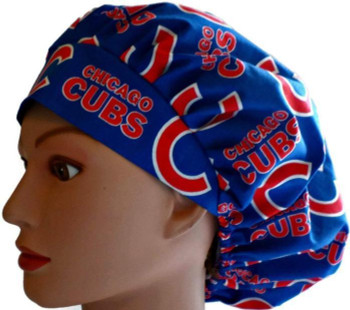 Women's Chicago Cubs Blue Bouffant Surgical Scrub Hat, Adjustable with elastic and cord-lock, Handmade