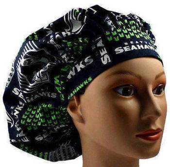 Women's Seattle Seahawks Squares Bouffant Surgical Scrub Hat, Adjustable with elastic and cord-lock, Handmade