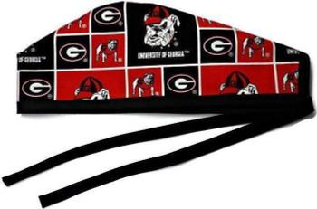 Men's Georgia Bulldogs Squares Unlined Surgical Scrub Hat, Optional Sweatband, Handmade