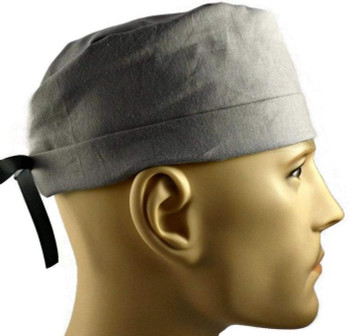 Men's Medium Gray Solid Surgical Scrub Hat, Semi-Lined Fold-Up Cuffed (shown) or No Cuff, Handmade
