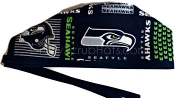 Men's Seattle Seahawks Squares  Unlined Surgical Scrub Hat, Optional Sweatband, Handmade