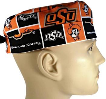 Men's Oklahoma Cowboys Surgical Scrub Hat, Semi-Lined Fold-Up Cuffed (shown) or No Cuff, Handmade