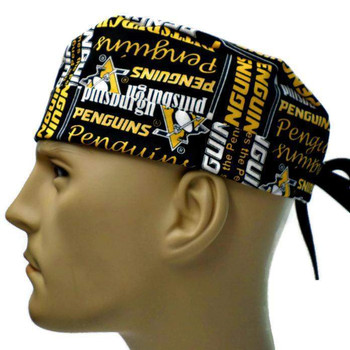 Men's Pittsburgh Penguins Writing Surgical Scrub Hat, Semi-Lined Fold-Up Cuffed (shown) or No Cuff, Handmade