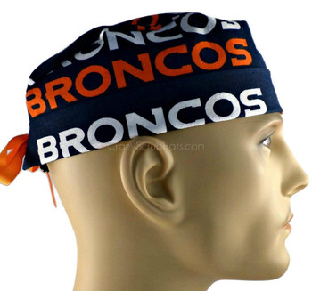 Men's Denver Broncos Navy Surgical Scrub Hat, Semi-Lined Fold-Up Cuffed (shown) or No Cuff, Handmade